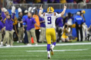 ASSOCIATED PRESS                                 LSU quarterback Joe Burrow celebrates a touchdown against Oklahoma during the first half.