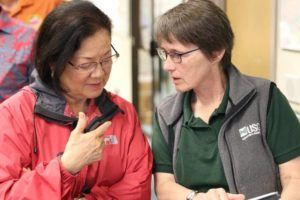 COURTESY PHOTO                                 U.S. Sen. Mazie Hirono and Hawaiian Volcano Observatory scientist-in-charge Tina Neal at the Emergency Operations Center in Hilo in May 2018.