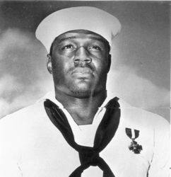 COURTESY U.S. NAVY                                 U.S. Navy Mess Attendant Doris Miller was the first African American awarded the Navy Cross for his heroism during the Pearl Harbor attack in 1941.