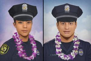 COURTESY JONNY CASTRO                                 Philadelphia artist Jonny Castro, who has done more than 500 portraits of heroes killed in the line of duty, has completed portraits of fallen Honolulu police officers Tiffany Enriquez, left, and Kaulike Kalama.
