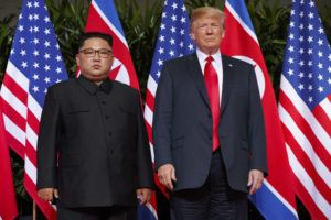 ASSOCIATED PRESS / 2018                                 U.S. President Donald Trump, right, meets with North Korean leader Kim Jong Un on Sentosa Island, in Singapore, on June 12, 2018.