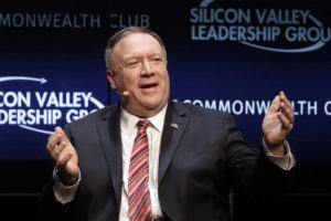 ASSOCIATED PRESS                                 Secretary of State Mike Pompeo gestured while speaking at the Commonwealth Club in San Francisco, Monday.