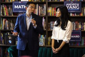 "ASSOCIATED PRESS                                 Democratic presidential candidate businessman Andrew Yang, left, and his wife Evelyn Yang speak during the, ""Family and Autism: An Honest Conversation,"" event at Sidekick Coffee & Books, in Iowa City, Iowa in December. The wife of Democratic presidential candidate Andrew Yang says she was sexually assaulted by her OB-GYN while she was pregnant with the couple's first child."