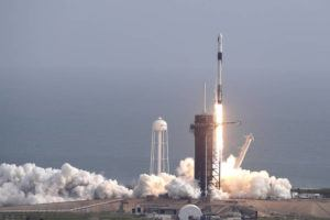 ASSOCIATED PRESS                                 A Falcon 9 SpaceX rocket lifts off from pad 39A during a test flight to demonstrate the capsule's emergency escape system at the Kennedy Space Center in Cape Canaveral, Fla., today.