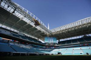 ASSOCIATED PRESS                                 Preparations are underway during a tour of the Hard Rock Stadium on Tuesday.
