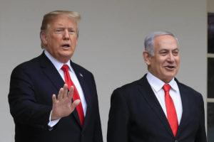 ASSOCIATED PRESS                                 President Donald Trump welcomes visiting Israeli Prime Minister Benjamin Netanyahu to the White House in Washington in March 2019. A blueprint the White House is rolling out to resolve the decades-long conflict between the Israelis and Palestinians is as much about politics as it is about peace.