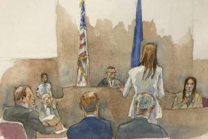ASSOCIATED PRESS                                 In this courtroom sketch, defendant Harvey Weinstein, far left, listens, as Assistant District Attorney Megan Hast, standing before the bench second from right, gestures while witness Mimi Haleyi, far right, holds a microphone during Haleyi's testimony in Weinstein's sexual misconduct and rape trial, Monday in Manhattan Supreme Court in New York.