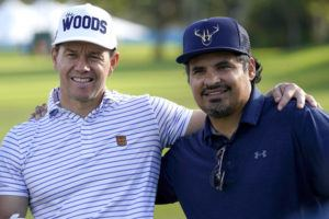 ASSOCIATED PRESS                                 Actors Mark Wahlberg, left, and Michael Pena pose for a photo during the Sony Open PGA Tour Pro-Am golf event Wednesday at Waialae Country Club.