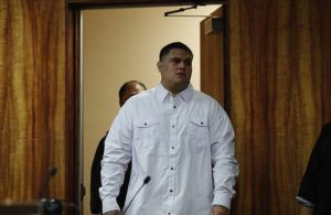 JAMM AQUINO / JAQUINO@STARADVERTISER.COM                                 Manu Sorensen arrives in a Honolulu Circuit Court courtroom on Jan. 6. Sorensen was convicted today of manslaughter in the 2018 shooting death of Jacob Feliciano at a Kapiolani Boulevard game room.