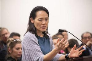 CRAIG. T. KOJIMA / FEB. 3                                 Hawaii State Epidemiologist Dr. Sarah Park, seen here giving a coronavirus update to state lawmakers at the Capitol earlier this month, said today that testing for the virus in Hawaii should start next week.
