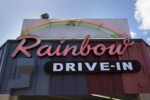 STAR-ADVERTISER / 2018                                 The iconic Rainbow Drive-In sign hangs at the original Kapahulu location.
