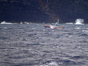 LT. J.G. DANIEL WINTER/U.S. COAST GUARD VIA AP / 2019                                 A coast guard vessel searches along the Na Pali Coast on the Hawaiian island of Kauai after a tour helicopter disappeared with seven people aboard. Officials say the pilot in the Hawaii tourism helicopter crash that killed him and six passengers previously lost his professional license for a year due to drug use. The Garden Island reported the Federal Aviation Administration revoked the professional certificates of Safari Helicopters pilot Paul Matero in June 2010.