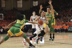 ASSOCIATED PRESS Oregon State's Mikayla Pivec runs to the basket past Oregon's Minyon Moore (23) and Erin Boley (21) during the second half on Jan. 26.