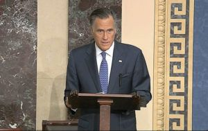 SENATE TELEVISION VIA ASSOCIATED PRESS                                 Sen. Mitt Romney, R-Utah, spoke on the Senate floor about the impeachment trial against President Donald Trump at the U.S. Capitol in Washington, today. The Senate will vote on the Articles of Impeachment this afternoon.