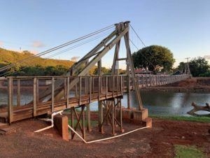 COURTESY KAUAI COUNTY                                 Repairs were completed for the Hanapepe Swinging Bridge on Friday.