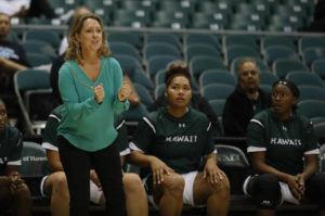 JAMM AQUINO / 2019                                 Hawaii head coach Laura Beeman looks on from the sideline during the second half of a women's college basketball game against the San Diego State Aztecs on Tuesday, November 5, 2019 at Stan Sheriff Center.