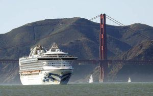 SCOTT STRAZZANTE/SAN FRANCISCO CHRONICLE VIA ASSOCIATED PRESS                                 The Grand Princess cruise ship passed the Golden Gate Bridge, Feb. 11, as it arrived from Hawaii in San Francisco. Scrambling to keep the coronavirus at bay, officials ordered the cruise ship to hold off the California coast, today, to await testing of those aboard, after a passenger on an earlier voyage died and at least one other became infected.