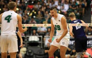 JAMM AQUINO / JAQUINO@STARADVERTISER.COM                                 Hawaii opposite Rado Parapunov, right, reacted, Thursday, after a point against the BYU Cougars during the third set of a game at Stan Sheriff Center.