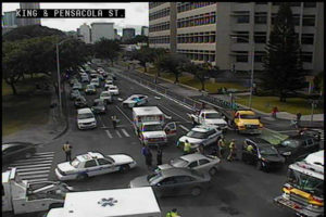 COURTESY HONOLULU.GOV                                 A multi-vehicle accident on the corner of King and Pensacola streets has closed several lanes this afternoon.