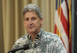 BRUCE ASATO / 2018                                 University of Hawaii President David Lassner appeared in a TMT press conference. Lassner announced today UH instruction will move online.
