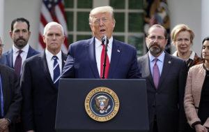 ASSOCIATED PRESS                                 President Donald Trump spoke at a news conference about the coronavirus in the Rose Garden of the White House, today, in Washington.