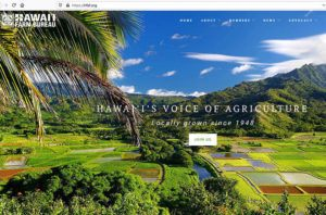 This screen shot shows the Hawaii Farm Bureau's web site.