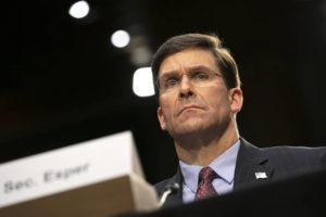 ASSOCIATED PRESS                                 Defense Secretary Mark Esper testifies to the Senate Armed Services Committee about the budget on March 4 on Capitol Hill in Washington.