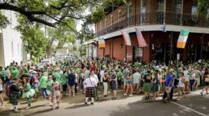 THE ADVOCATE VIA AP Revelers celebrate St. Patrick's Day Saturday during an unofficial gathering at Tracey's Original Irish Channel Bar in New Orleans.