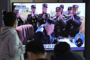 ASSOCIATED PRESS                                 People watched a television screen showing a file image of North Korean leader Kim Jong Un during a news program at the Seoul Railway Station in Seoul, South Korea, on Saturday.