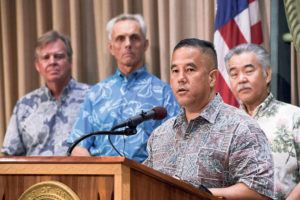 "BRUCE ASATO / MARCH 16                                 Maj. Gen. Kenneth Hara, named ""incident commander"" of Hawaii's coronavirus response, speaks during a news conference March 16."