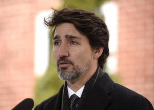 THE CANADIAN PRESS/JUSTIN TANG / APRIL 10                                 Prime Minister Justin Trudeau speaks during his daily press conference on the COVID-19 pandemic outside of his residence at Rideau Cottage in Ottawa.