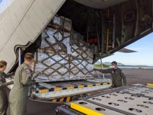 U.S. COAST GUARD                                 A Coast Guard HC-130 Hercules airplane crew brought various supplies to American Samoa on Wednesday. Working with FEMA and the Air Force, they delivered supplies, including medical supplies from the Strategic National Stockpile.