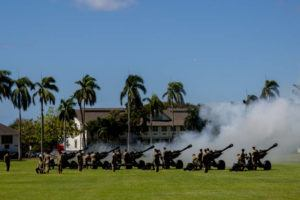 COURTESY U.S. ARMY / 2018                                 The 25th Infantry Division Salute Battery fired cannons during 196th Infantry Brigade Vietnam Veterans' Recognition Ceremony at Fort Shafter.