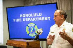 CINDY ELLEN RUSSELL / CRUSSELL@STARADVERTISER.COM                                 Honolulu Fire Department Chief Manuel P. Neves speaks during a news conference today at Honolulu Hale.