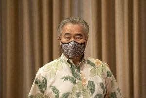 CINDY ELLEN RUSSELL / CRUSSELL@STARADVERTISER.COM                                 Gov. David Ige wears a mask prior to a news conference today about the state's response to COVID-19 at the state Capitol.