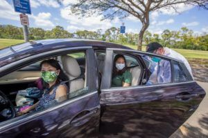 DENNIS ODA / APRIL 15                                 Kalihi Kai Urgent Care conducted a drive-thru COVID-19 testing at the Asing Community Park across from the West Loch Elderly Village in Ewa Beach last week.
