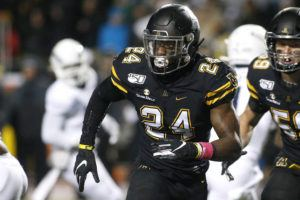 ASSOCIATED PRESS / 2019                                 Appalachian State linebacker Akeem Davis-Gaither (24) tracks the offense during the first half of the team's NCAA college football game against Georgia Southern in Boone, N.C. The NFL draft entered its third and final day pmn Saturday, April 25, 2020, with the Cincinnati Bengals selecting the Appalachian State linebacker.