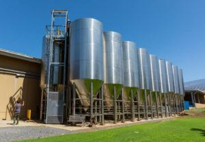 STAR-ADVERTISER / FEB. 20                                 Maui Brewing Co.'s outdoor fermentation tanks in Kihei.