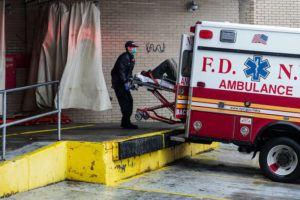 NEW YORK TIMES                                 First responders transported a patient into the Brookdale Hospital Medical Center in New York, today, during the coronavirus pandemic.