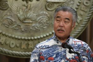 BRUCE ASATO / MARCH 17                                 Gov. David Ige discusses the implementation of President Donald Trump's coronavirus guidelines to help slow the spread of COVID-19.