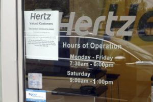 ASSOCIATED PRESS A Hertz Car Rental is closed during the coronavirus pandemic on May 6 in Paramus, N.J.