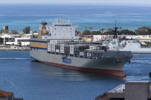 GEORGE F. LEE / GLEE@STARADVERTISER.COM                                 The Matson container ship Lurline prepared to depart Honolulu Harbor in March. Matson expects the April-June period will be the hardest-hit quarter for Hawaii container volume.