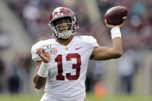 ASSOCIATED PRESS / OCTOBER 12, 2019                                 Alabama quarterback Tua Tagovailoa passed against Texas A&M during the second half of an NCAA college football game in College Station, Texas.