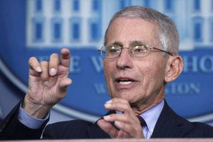 FILE - In this March 31, 2020 file photo, Dr. Anthony Fauci, director of the National Institute of Allergy and Infectious Diseases, speaks about the coronavirus in the James Brady Press Briefing Room of the White House in Washington. (AP Photo/Alex Brandon)
