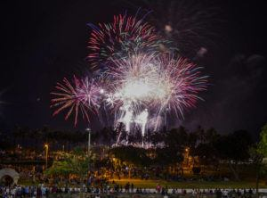 STAR-ADVERTISER / 2019                                 Fireworks lit the sky at Ala Moana Regional Park on the Fourth of July.
