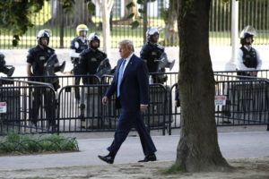 ASSOCIATED PRESS                                 President Donald Trump walked in Lafayette Park to visit outside St. John's Church across from the White House today.