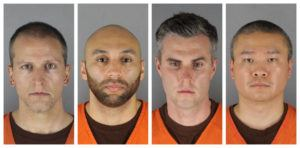 ASSOCIATED PRESS This combination of photos provided by the Hennepin County Sheriff's Office in Minnesota shows Derek Chauvin, from left, J. Alexander Kueng, Thomas Lane and Tou Thao. Chauvin is charged with second-degree murder of George Floyd, a black man who died after being restrained by him and the other Minneapolis police officers on May 25. Kueng, Lane and Thao have been charged with aiding and abetting Chauvin.