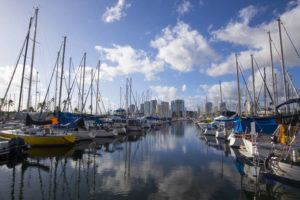 STAR-ADVERTISER / 2019                                 Boats docked at Ala Wai Boat Harbor.