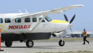 STAR-ADVERTISER / 2019                                 A new Mokulele Airlines Cessna Aircraft taxis in at Mokulele Airlines' Terminal 3 of the Daniel K. Inouye International Airport.