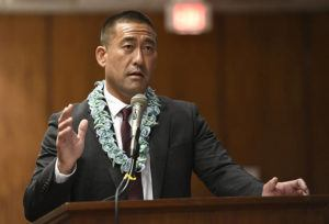 BRUCE ASATO / JAN. 15                                 Kauai Mayor Derek Kawakami joined other neighbor island mayors to go before state lawmakers to explain their legislative requests. Kawakami announced today that Gov. David Ige has signed Kauai's Emergency Rule 16, which would permit visitors at participating resorts to leave their hotel rooms to utilize the resort's property.